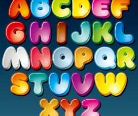 Colored cartoon alphabet vector