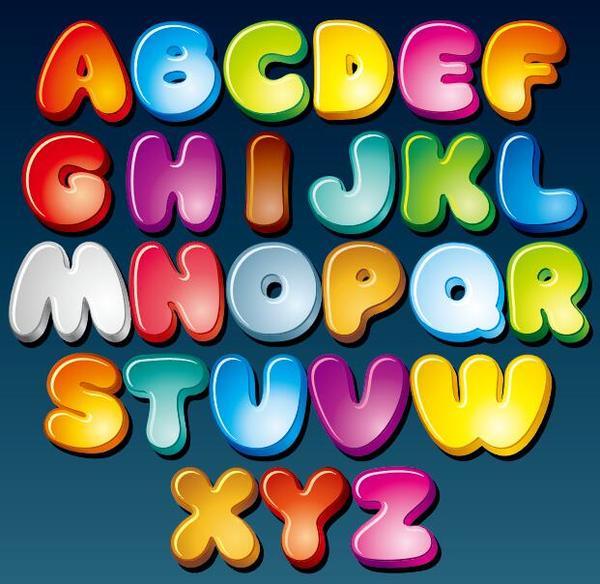 Colored cartoon alphabet vector
