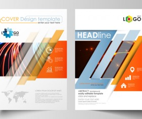 Colored cover template magazine with flyer modern design vector