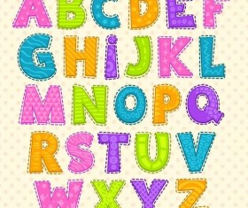 Colored cute alphabet vector