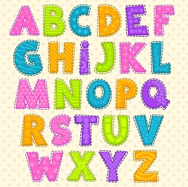 Colored cute alphabet vector vector font free download colored cute alphabet vector altavistaventures Images