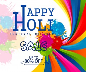 Colored holi frstival background vector 01