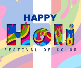 Colored holi frstival background vector 02