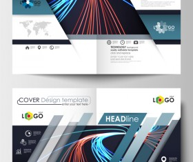 Colored lines with modern cover template magazine with flyer vector