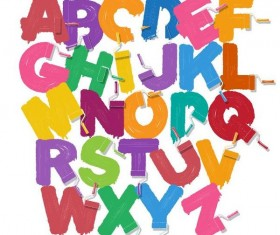 Colored paint brush alphabet vector