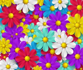 Colored paper flower seamless pattern vector