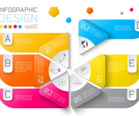 Colored paper infographic templates vectors 01