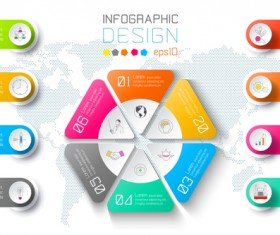 Colored paper infographic templates vectors 03