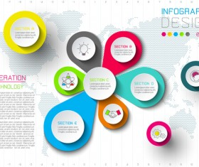 Colored paper infographic templates vectors 11