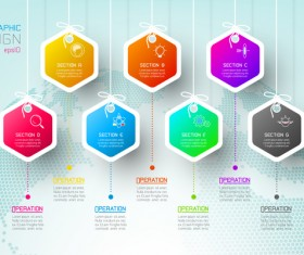 Colored paper infographic templates vectors 13