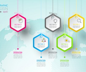 Colored paper infographic templates vectors 14