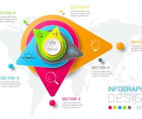 Colored paper infographic templates vectors 15