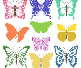 Colored silhouettes butterflies vector