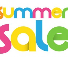 Colored summer sale text vector