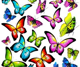 Colorful butterfies vector illustration set 01