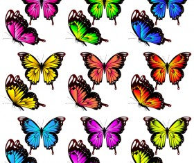 Colorful butterfies vector illustration set 02