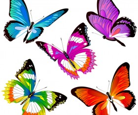 Colorful butterfies vector illustration set 03