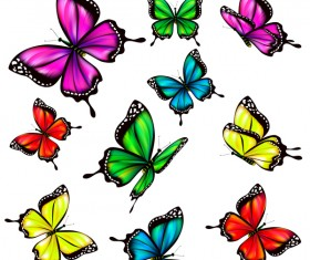 Colorful butterfies vector illustration set 06