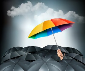 Colorful umbrella in mass of black umbrellas vector