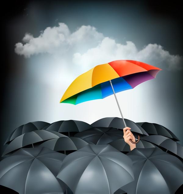 Colorful umbrella in mass of black umbrellas vector