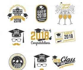 Congratulations 2018 grad labels vector