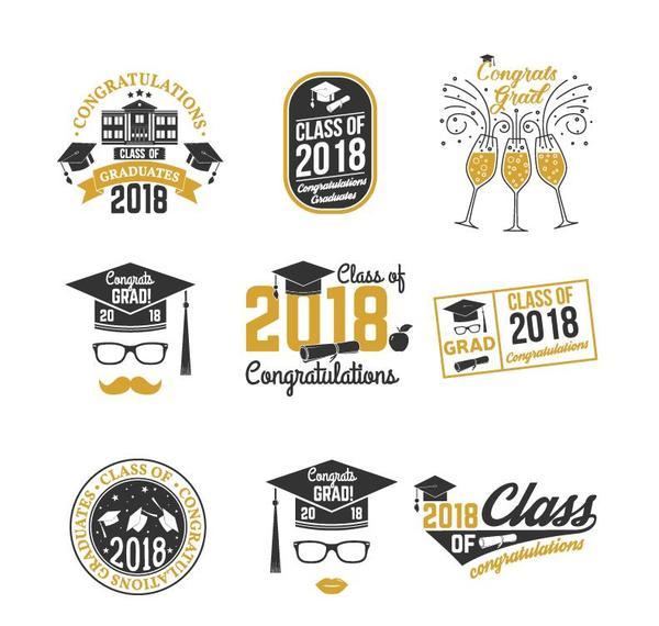 congratulations 2018 grad labels vector free download