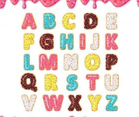 Cookies alphabet design vector 02