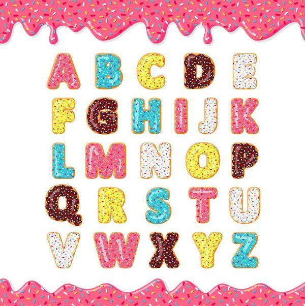 cookies alphabet design vector 02