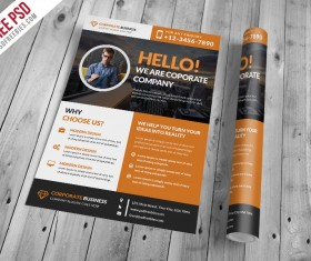 Corporate With Clean Business Flyer PSD Template