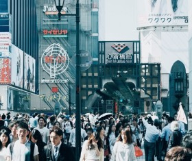 Crowded pedestrian walking in asian urban Stock Photo