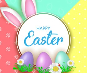 Cute Easter greeting card with flowers vector 01