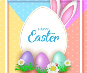 Cute Easter greeting card with flowers vector 02