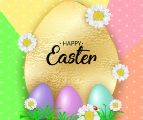Cute Easter greeting card with flowers vector 03