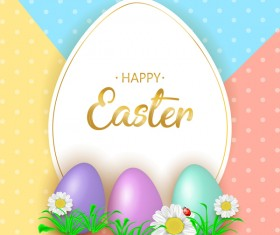 Cute Easter greeting card with flowers vector 04