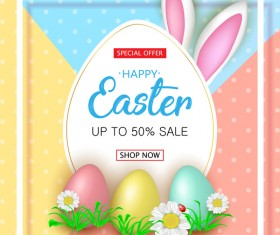 Cute Easter greeting card with flowers vector 05