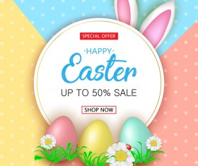 Cute Easter greeting card with flowers vector 06