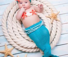 Cute baby mermaid Stock Photo