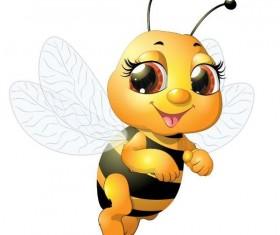 Cute cartoon bee baby vector 01