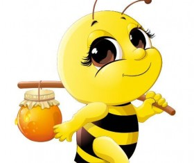 Cute cartoon bee baby vector 02