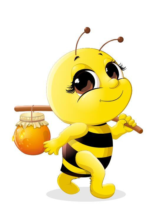 Cute Cartoon Bee Baby Vector 02 Free Download