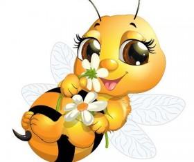 Cute cartoon bee baby vector 04