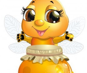 Cute cartoon bee baby vector 05