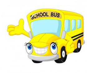 Cute cartoon school bus vector