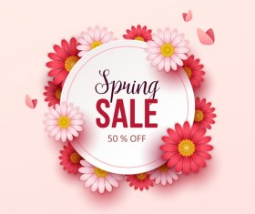 Cute flower frame with spring sale background vector 01