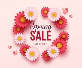 Cute flower frame with spring sale background vector 02