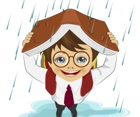 Cute student with rainy day vector