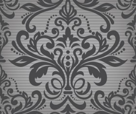 Dark damask pattern deamless vintage vector
