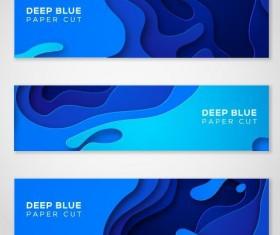Deep blue paper cut banner vector