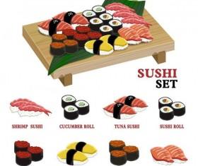 Delicious sushi vector set 01