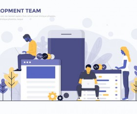 Development team flat business template vector